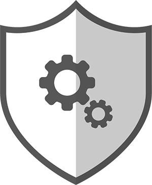Icon with Gears on Shield